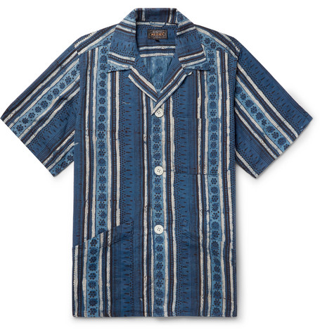 Beams Plus Camp-Collar Printed Cotton Shirt