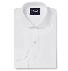 Drake's White Cotton-Poplin Shirt