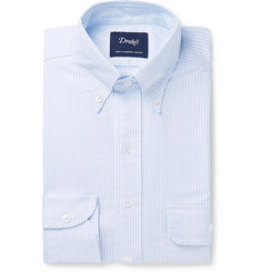 Drake's Sky-Blue Slim-Fit Button-Down Collar Striped Cotton-Oxford Shirt