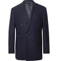 Thom Sweeney - Navy Slim-Fit Double-Breasted Wool-Hopsack Blazer