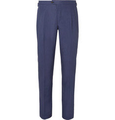 Thom Sweeney Navy Slim-Fit Pleated Linen Trousers