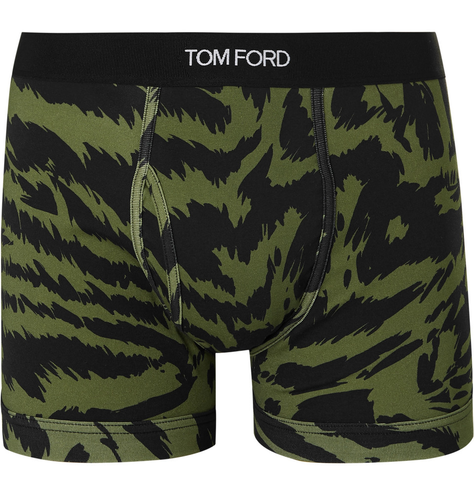 Zebra-print Stretch-cotton Boxer Briefs - Army green