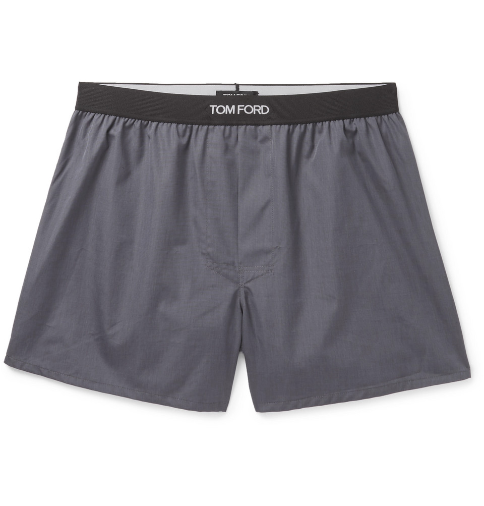 Grosgrain-trimmed Cotton Boxer Shorts - Dark gray
