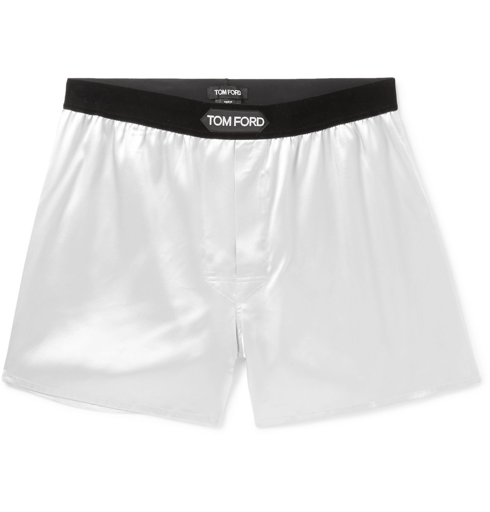 Velvet-trimmed Stretch-silk Satin Boxer Shorts - White