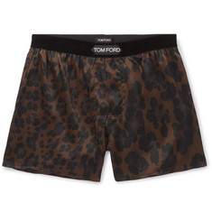 TOM FORD Velvet-Trimmed Leopard-Print Stretch-Silk Boxer Shorts