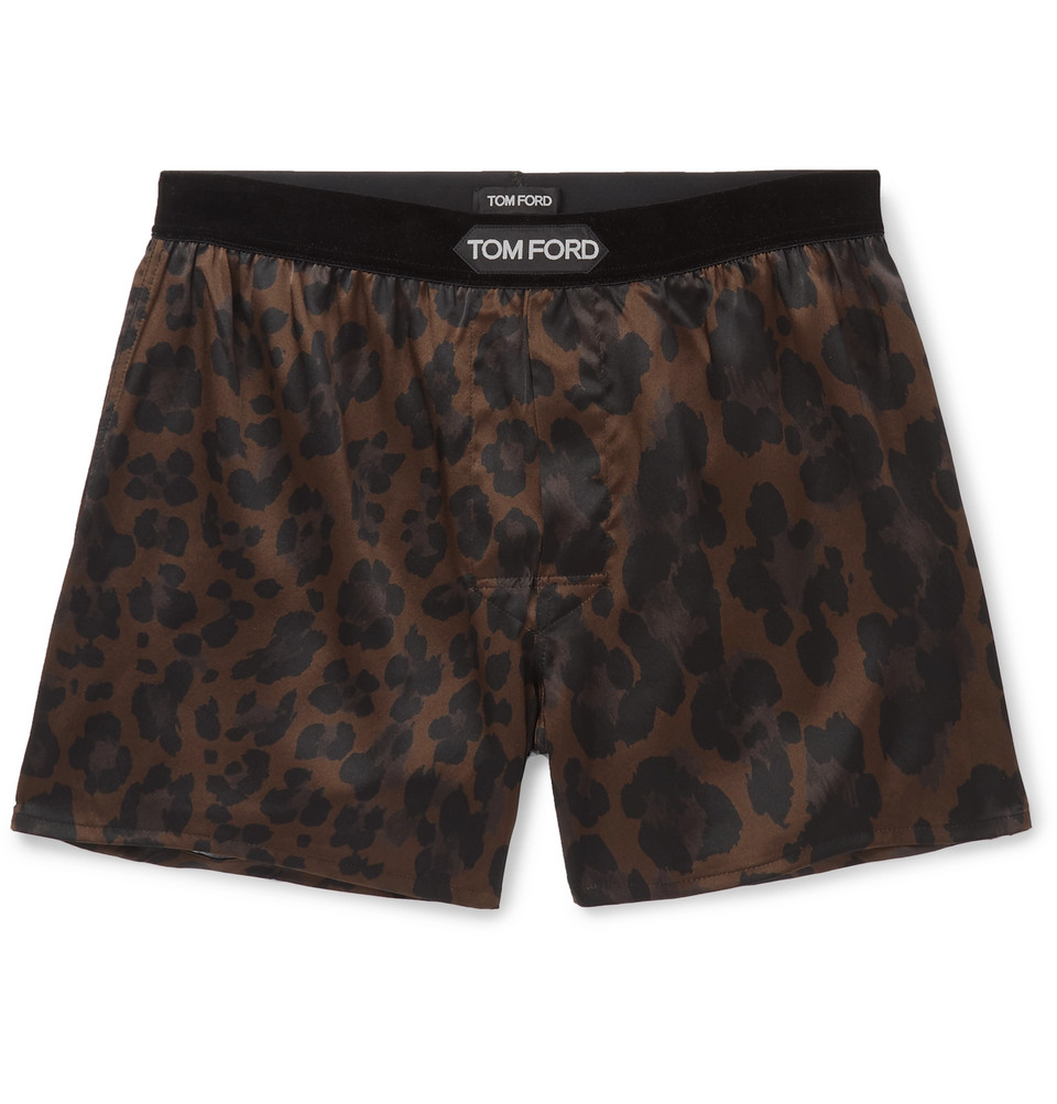 Velvet-trimmed Leopard-print Stretch-silk Boxer Shorts - Chocolate