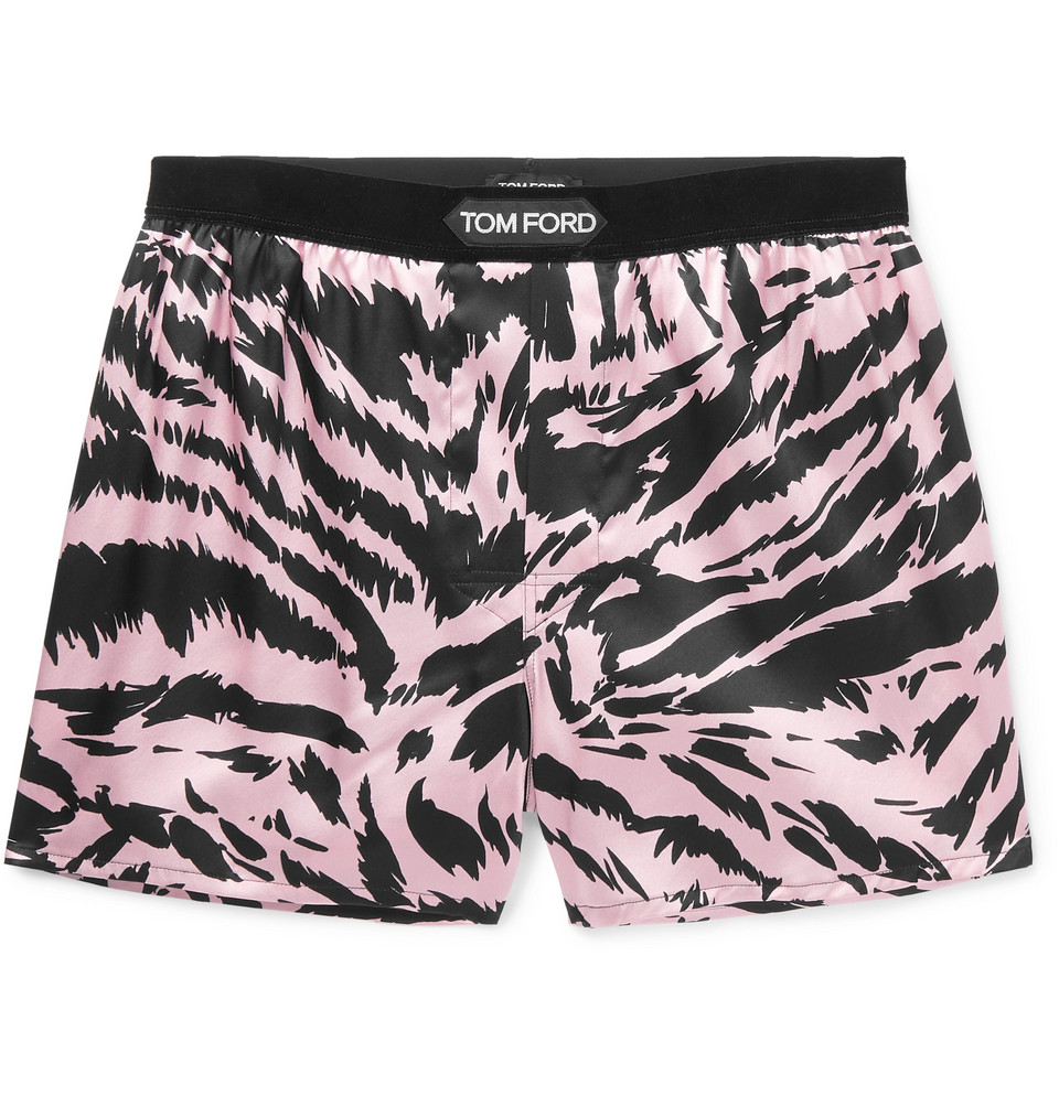 Velvet-trimmed Zebra-print Stretch-silk Satin Boxer Shorts - Pink
