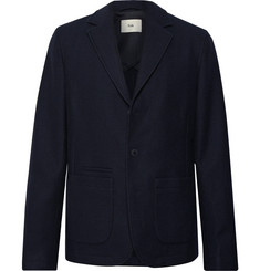 Folk Midnight-Blue Unstructured Re.VerSo Wool-Blend Blazer