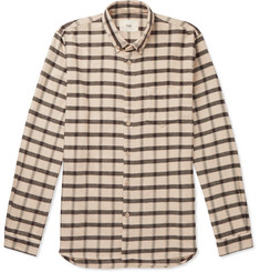 Folk Button-Down Collar Checked Cotton-Flannel Shirt