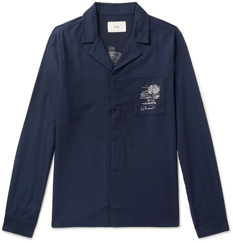 Camp Collar Embroidered Tencel And Cotton Blend Shirt by Folk