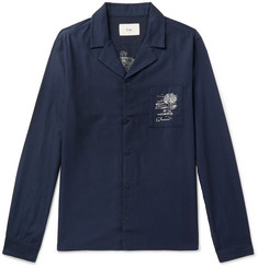 Folk Camp-Collar Embroidered Tencel and Cotton-Blend Shirt