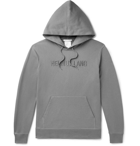 Helmut Lang Logo-Embroidered Loopback Cotton-Jersey Hoodie