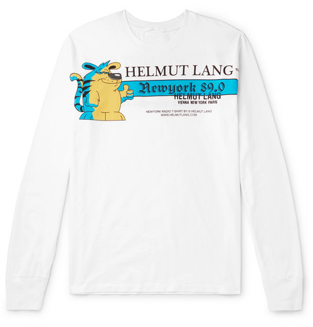Helmut Lang Logo-Embroidered Printed Cotton-Jersey T-Shirt