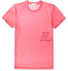 Helmut Lang Logo-Embroidered Stretch-Organza T-Shirt