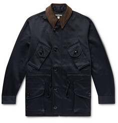 Monitaly Leather and Corduroy-Trimmed Cotton Vancloth Cotton-Sateen Field Jacket