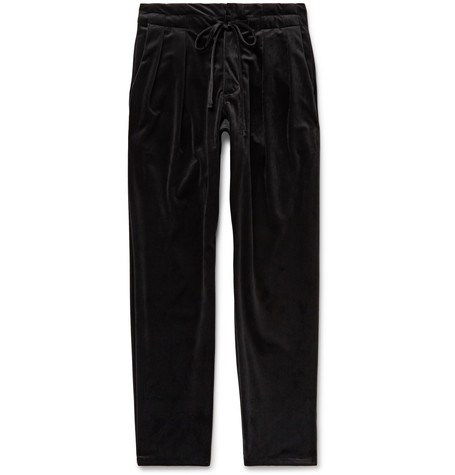 Monitaly Black Pleated Velvet Drawstring Trousers