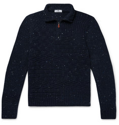 Inis Meáin - Donegal Merino Wool and Cashmere-Blend Half-Zip Sweater