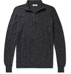 Inis Meáin Mélange Wool and Linen-Blend Half-Zip Sweater
