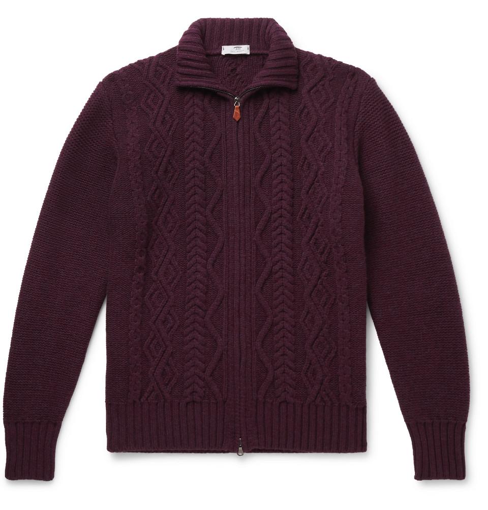 Cable-knit Merino Wool Zip-up Cardigan - Burgundy