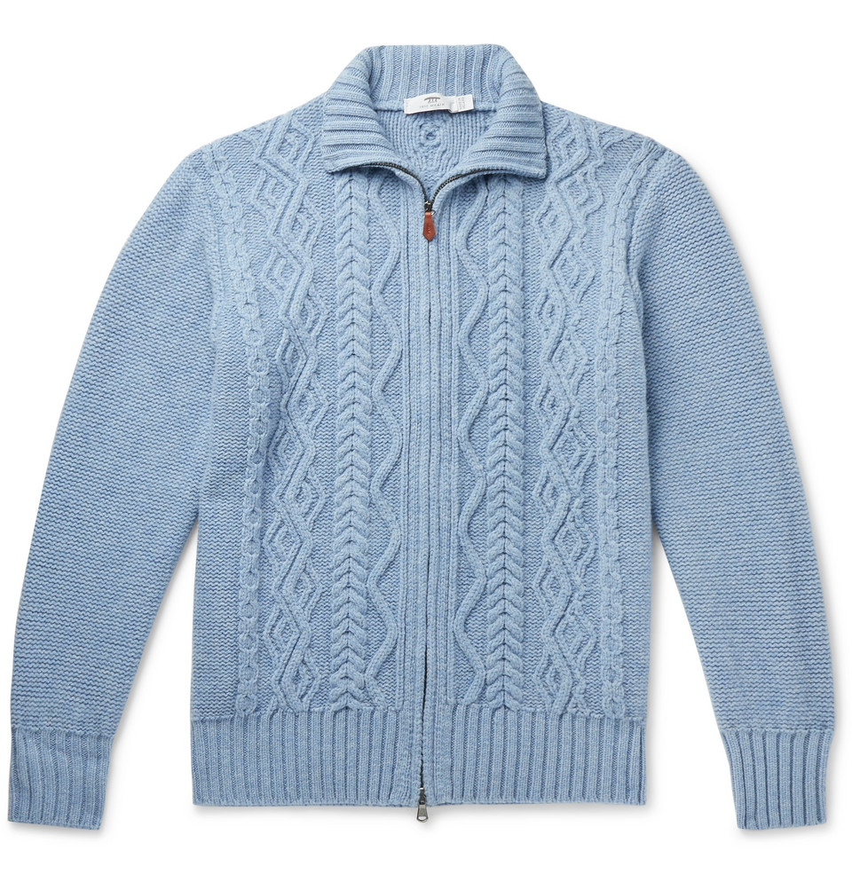 Cable-knit Merino Wool Zip-up Cardigan - Blue