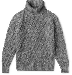 Inis Meáin - Mélange Cable-Knit Wool and Cashmere-Blend Rollneck Sweater