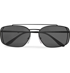 Prada Pillow Rectangular-Frame Titanium Sunglasses