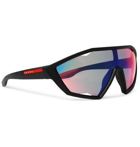 Shield Frame Rubber Sunglasses by Prada