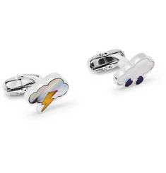 Paul Smith Silver-Tone, Mother-Of-Pearl and Enamel Cufflinks