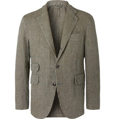 MAN 1924 Green Slim-Fit Unstructured Prince of Wales Checked Linen Blazer