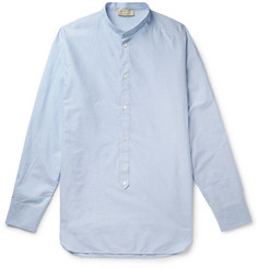 MAN 1924 Grandad-Collar Striped Cotton Half-Placket Shirt