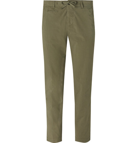 MAN 1924 Olive Kennedy Slim-Fit Stretch-Cotton Suit Trousers