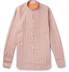 MAN 1924 Grandad-Collar Striped Cotton and Silk-Blend Half-Placket Shirt