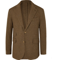 MAN 1924 Green Kennedy Slim-Fit Unstructured Puppytooth Silk and Wool-Blend Blazer
