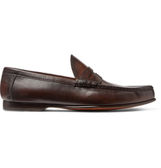 Ralph Lauren Purple Label Burnished-Leather Penny Loafers