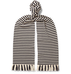 Dries Van Noten Tasselled Striped Merino Wool Scarf