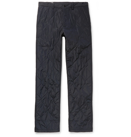 Navy Slim Fit Quilted Tech Shell Trousers by Dries Van Noten