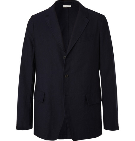 Dries Van Noten Navy Unstructured Pinstriped Cotton and Wool-Blend Blazer