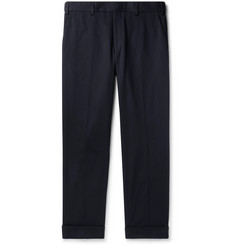 Dries Van Noten Navy Philip Tapered Cotton-Twill Trousers