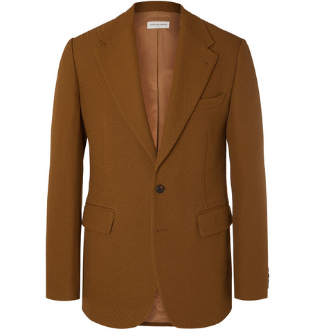 Light Brown Bareno Slim Fit Textured Wool Suit Jacket by Dries Van Noten