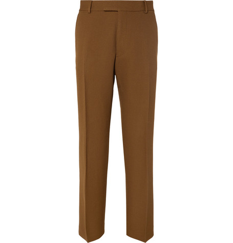 Light Brown Pennel Textured Wool Suit Trousers by Dries Van Noten