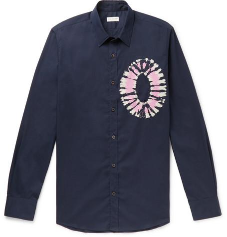 Slim Fit Tie Dyed Cotton Poplin Shirt by Dries Van Noten