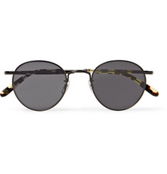 Garrett Leight California Optical Wilson M 49 Round-Frame Metal and Tortoiseshell Acetate Sunglasses