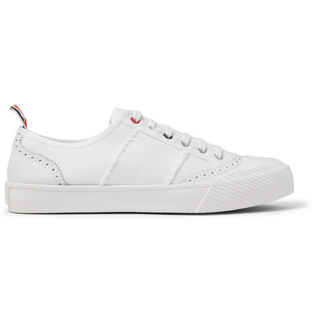 Thom Browne Leather And Rubber-Trimmed Canvas Sneakers In White