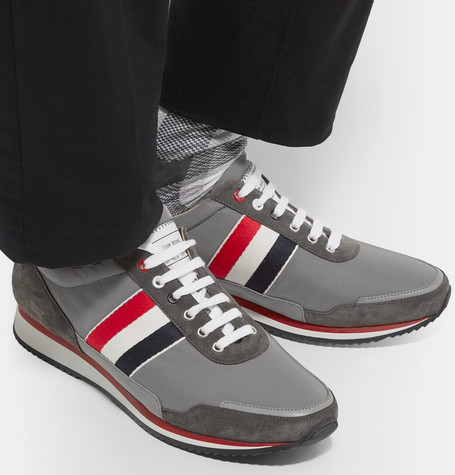 Thom Browne Grosgrain And Suede-Trimmed Nylon Sneakers In Gray