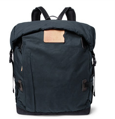 Basile Leather-trimmed Waxed-cotton Ripstop Backpack - Navy