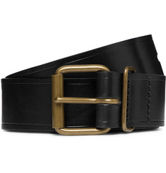 Bleu de Chauffe Fred 4cm Black Leather Belt
