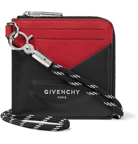 Givenchy Logo-Print Colour-Block Leather Zip-Around Cardholder