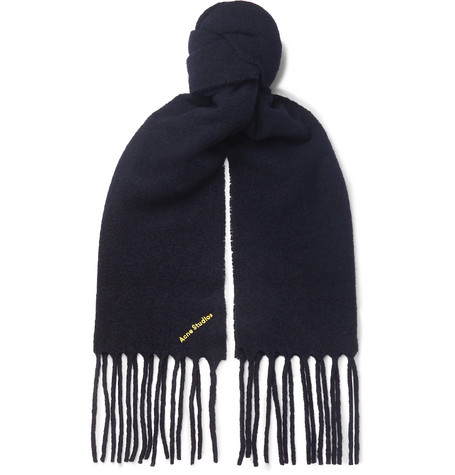Acne Studios Fringed Logo-Embroidered Boiled Wool-Blend Scarf