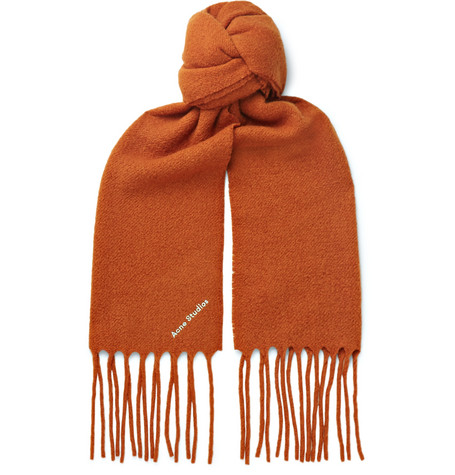 Acne Studios Accessories FRINGED LOGO-EMBROIDERED BOILED WOOL-BLEND SCARF