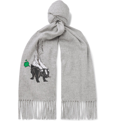 Acne Studios Accessories FRINGED EMBROIDERED MÉLANGE BRUSHED-WOOL SCARF